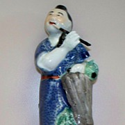 Antique Chinese Figurine Man Playing a Flute   circa 1890