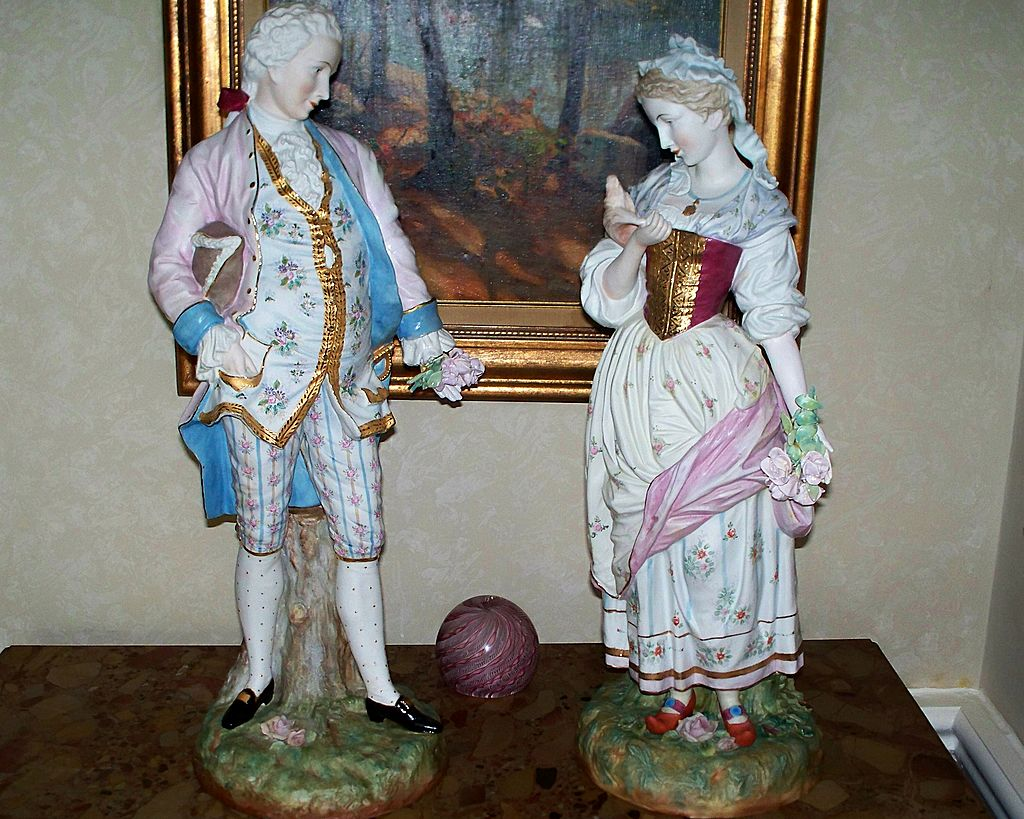 "Pair of Antique Sitzendorf  Voigt  Brothers  Man & Woman 21""H.1887-1900"