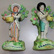 Antique Pair of Staffordshire Pearlware Walton Bare-Footed Sellers   ca.1820