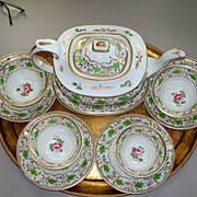 Antique Worcester  Tea Set  Pot w Tray  & 4 Cs&Ss Hand-Painted c. 1830 Perfect