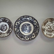 Antique Davenport  Small Mulberry Cyprus Plates & Another Transferware ca. 1840