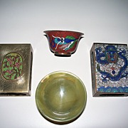 Antiques: 4 Objects; Chinese Cloisonne, three  & Chinese Jade, one