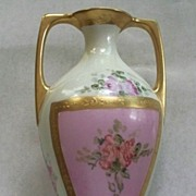 Antique M & Z Austria Vase with Roses  circa 1900