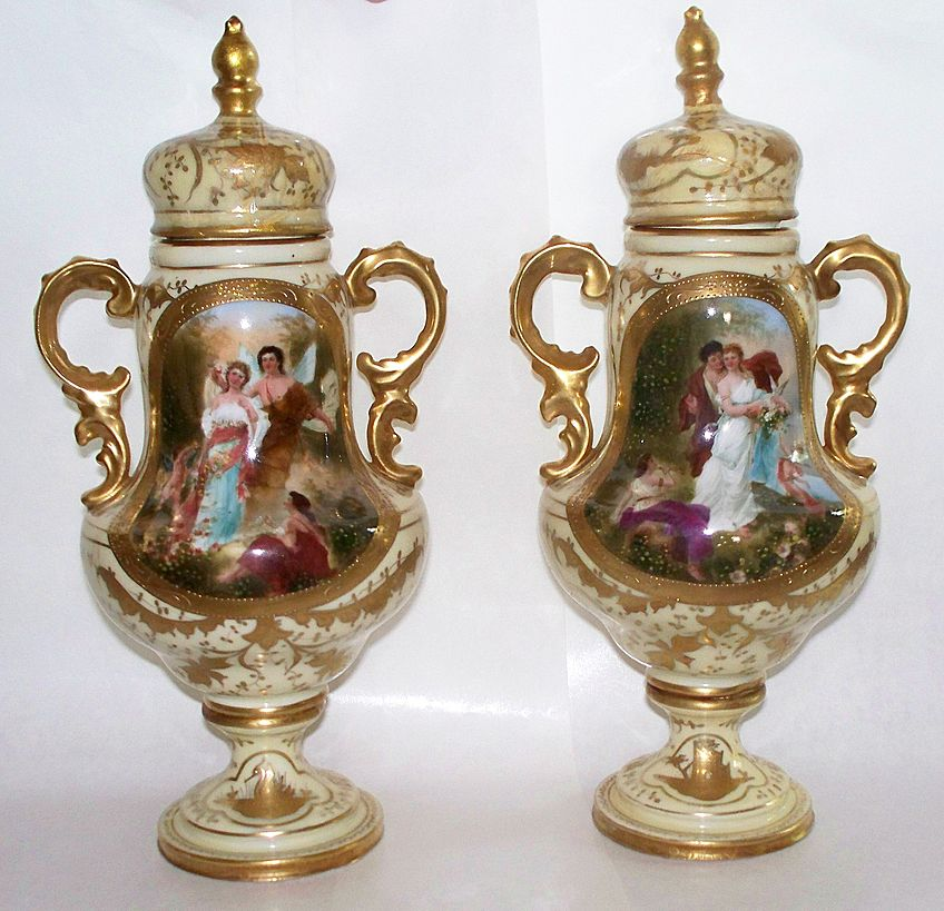 Pair of Royal Vienna Covered Vases.  Signed by Artist   circa 1890
