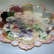 "Spectacular Antique M & Z Austria  11"" Bowl Charger with Berries Signed & Dated"