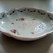 Antique Chinese Rose Famille Export Fluted & Scalloped Bowl   18th century & Butterflies
