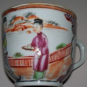 Chinese Rose Famille Cup of 3 Maidens  Tea -Time   ca.1840