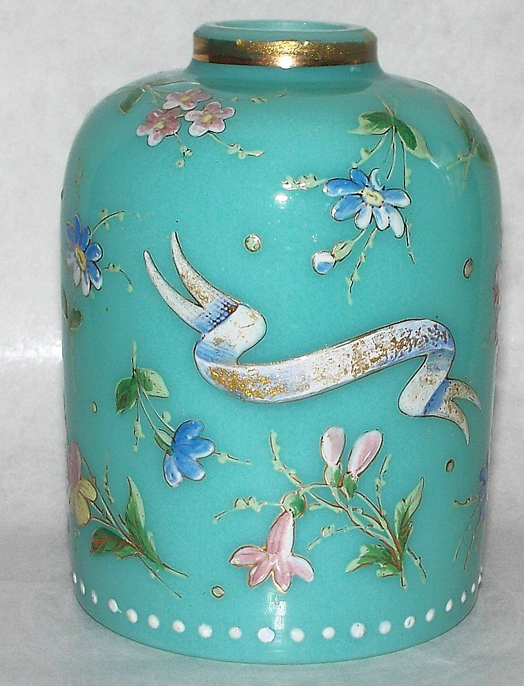 Antique French Opaline Glass Vase Jar  Raised Enamel Flowers ca 1910