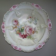 R S Prussia Large Pearl Luster Bowl of Roses  circa 1890