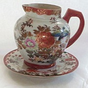 Large Kutani Pitcher and Plate & Roses,Peonies , Lilies & Swallows