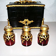 Antique French Lacquer Ormolu -Mounted Casket  with 3 Eglomise Bottles circa 1850
