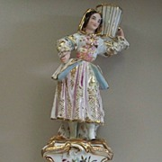 "Large Old Paris Double-Candleholder  Girl with Vase Jacob Petit circa 1850  13"" Tall"