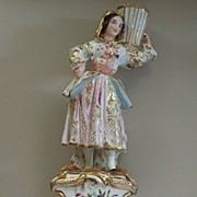 "Large Old Paris Double-Candleholder  Girl with Vase Jacob Petit circa 1850  13"" Tall"