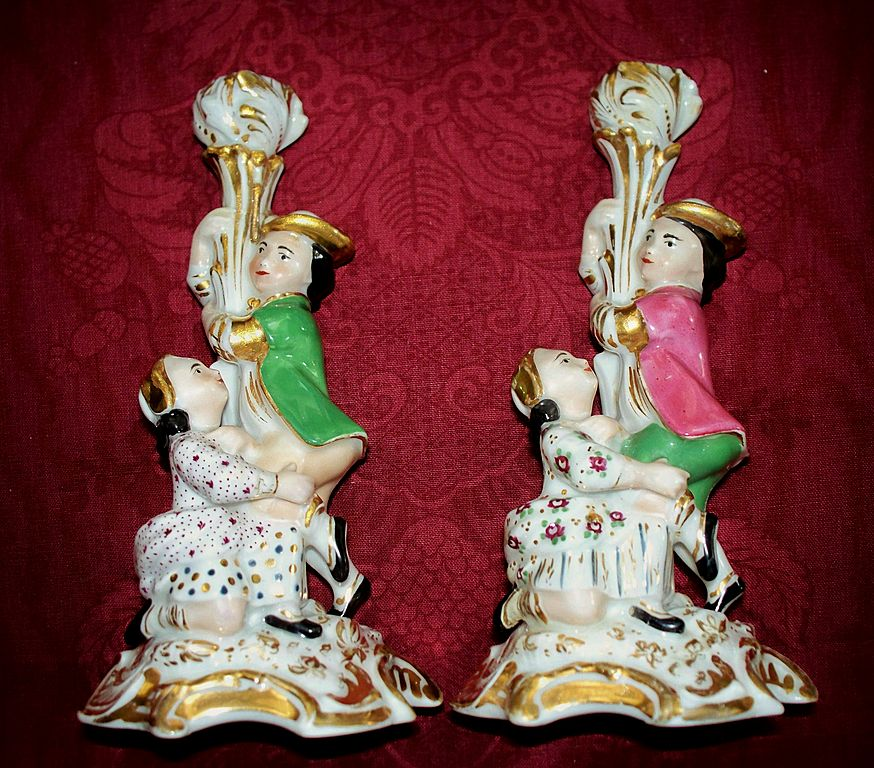 "Pair of Old Paris Candlesticks  Jacob Petit    Circa 1840   8 1/4"" Tall"