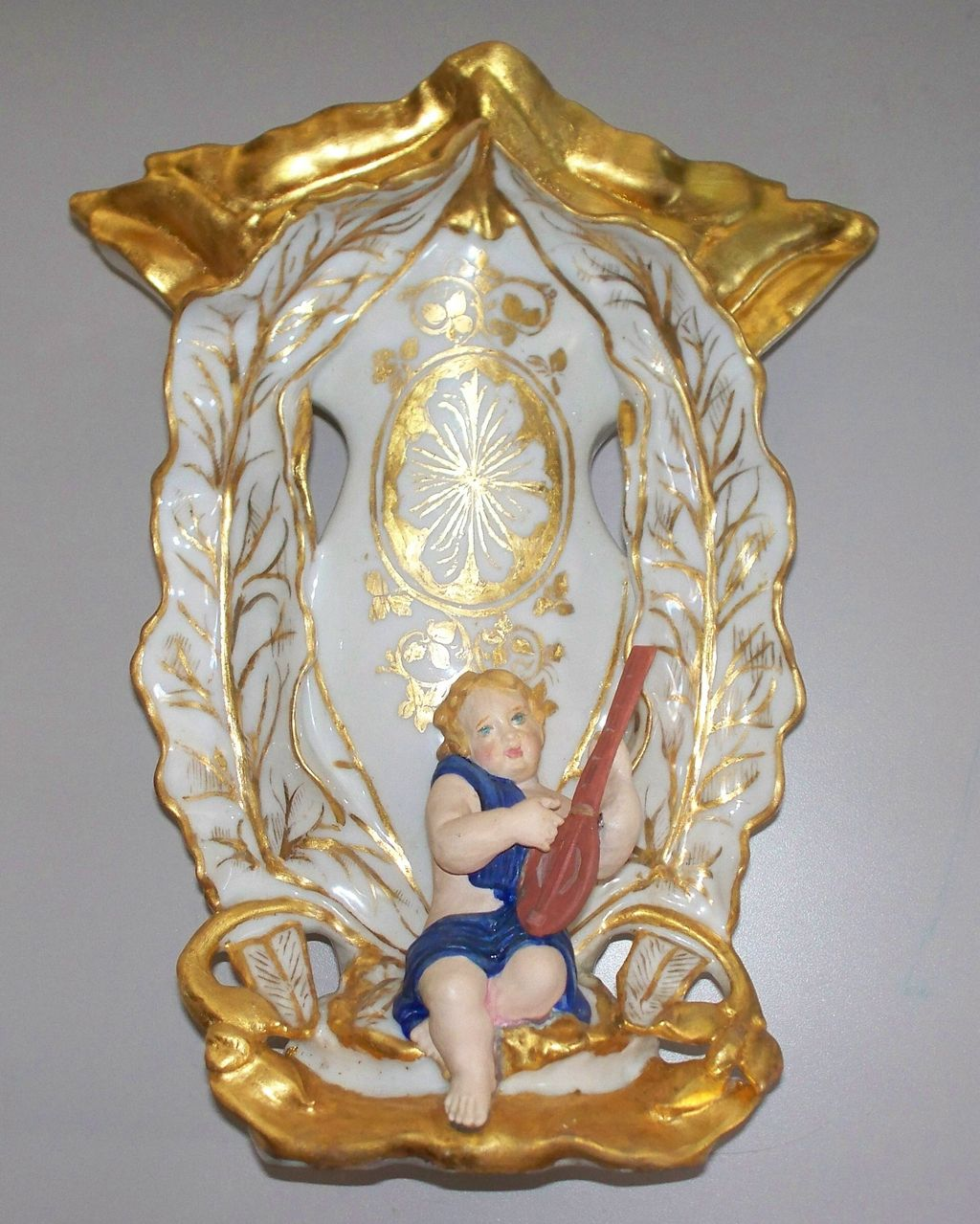 Dazzling Antique Old Paris Vase of Boy Playing a Guitar/Mandolin circa 1850