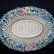 Dresden German Elfinware (or Elfin Ware) Woven & Reticulated Basket w Roses   circa 1910