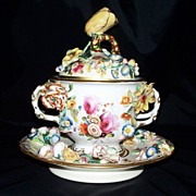 Antique Coalbrookdale Coalport  Meissen Style Sucrier or Dresser Jar