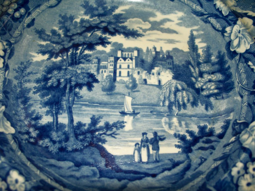 Antique Staffordshire Pearlware Plate Enoch Wood & Sons Castle Sail Boat circa 1820