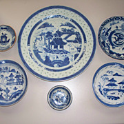 "6 Chinese Canton Plates Bowls   10""-3"""