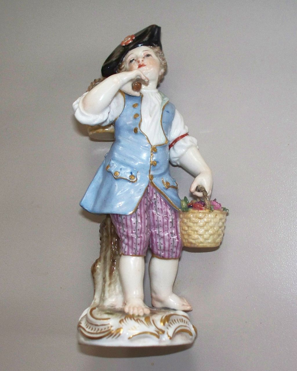Meissen Boy with Baskets  19th century  Figurine perfect