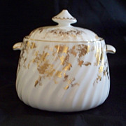 """Minton  """"Gold Ancestral"""" Fluted, Spiral Sugar Bowl  Perfect    never used"""