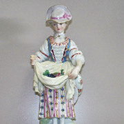 Antique Meissen  Girl  Gathering  Grapes  19th century