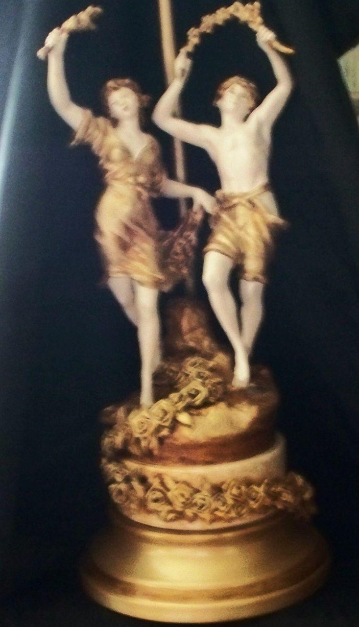 Antique French Art Nouveau Moreau Figurine Lamp Dancing