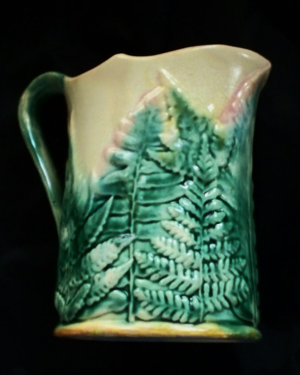 "Antique Etruscan  Majolica ""Griffin, Smith &Hall"" GSH Fern Leaf Pitcher"