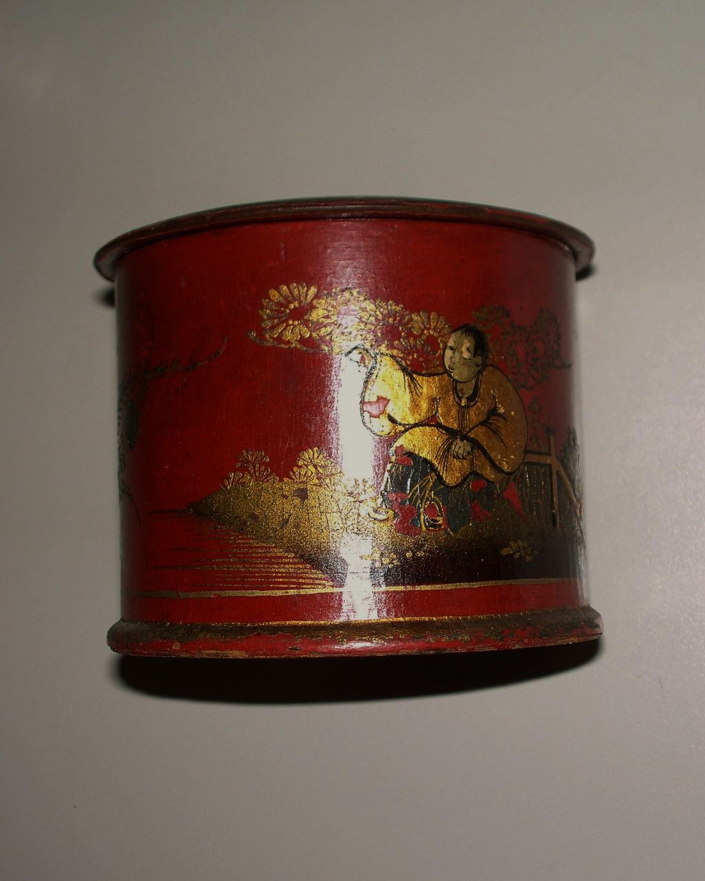 Antique Chinese Large Lacquered Vermilion  Red  Papier Mache String Box ca.1860