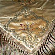 Antique Silk Silk Damask  Velvet Piano  Shawl  with Rhinestones ca. 1880
