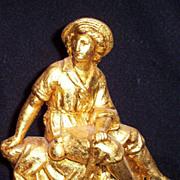 Antique Gold leafed Spelter 18th Century Sailor Statue circa 1880