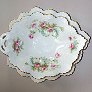 M& Z Austria Leaf Bowl & Tray Roses Perfect    circa 1910