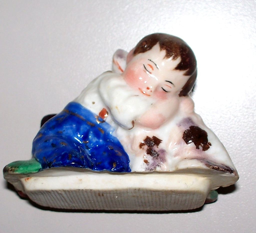 Antique  Staffordshire  Fairing Boy with His Dog Spaniel Hugging! Box circa 1860