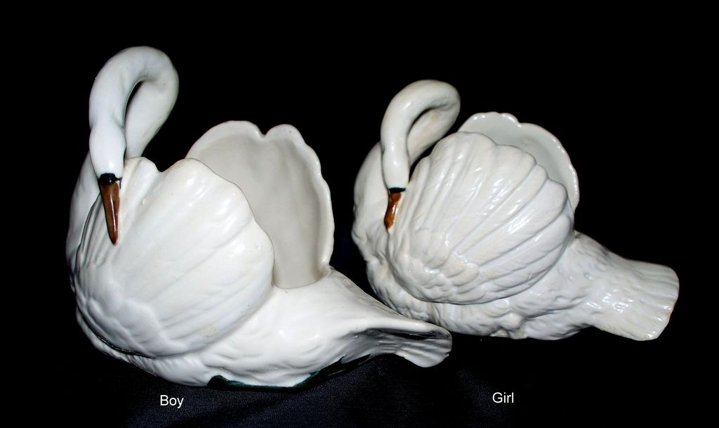 Pair of Czechoslovakia Republic Boy & Girl Swans