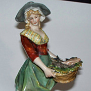 "Beautiful Antique Capodimonte Italian Neapolitan Fish Girl.. 8"" perfect"
