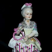 18th Century Capodimonte Meissen - style Little Girl w/ ribbons/ tatting shuttle