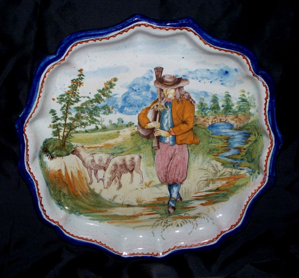 "Antique French Faience  "" Nevers "" ""Quimper"" Desvres Shepherd  Fluted/Lobed  Plate 9"""