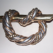 Vintage Large Sterling Silver Brooch/Pin with Gold Vermeil overcoat