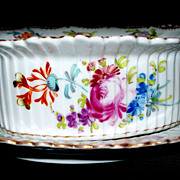 Dresden Fluted Bowl with Tray with Meissen Flowers
