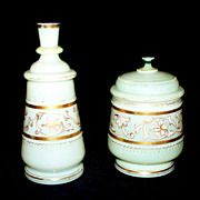 Vintage French/ English Opaline Dresser Jar & Vase  circa 1920s