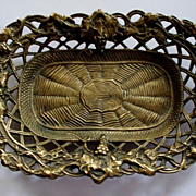 Antique  Bronze/Brass Tray  Grapes Vines & Spider Web  circa 1895's