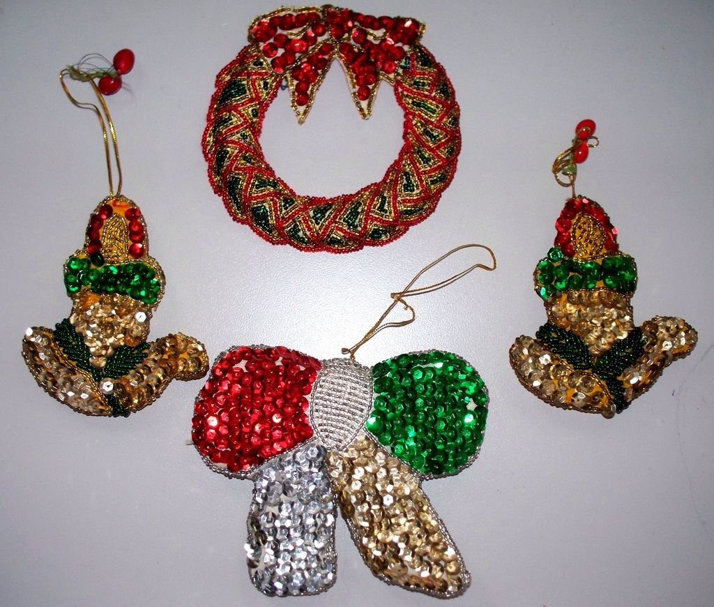 Vintage Sequin Christmas Ornaments 4 In All From