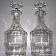 Pair of  Baccarat  Type  Crystal Decanter Bottles      Perfect   10.5""