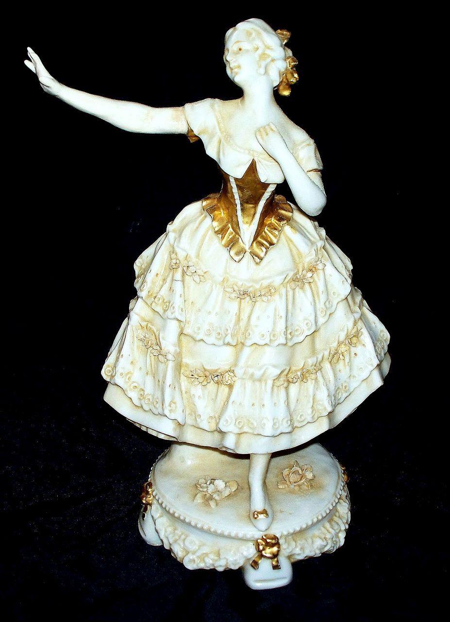 "Capodimonte Girl Figurine on Pedestal   circa 1900   10.4"" tall"