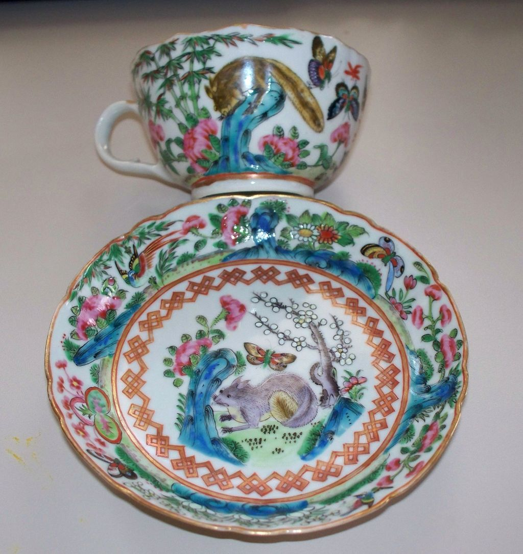 Antique Chinese Famille Rose Cup &  Saucer  Squirrels & Butterflies  circa 1900