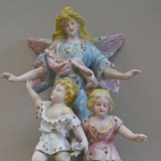 German Guarding Angel Watching over children porcelain figurine ca. 1900