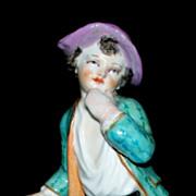 "Antique KPM Boy Figurine with Grapes Zodiac Sign of Leo the Lion. 4 1/4"""