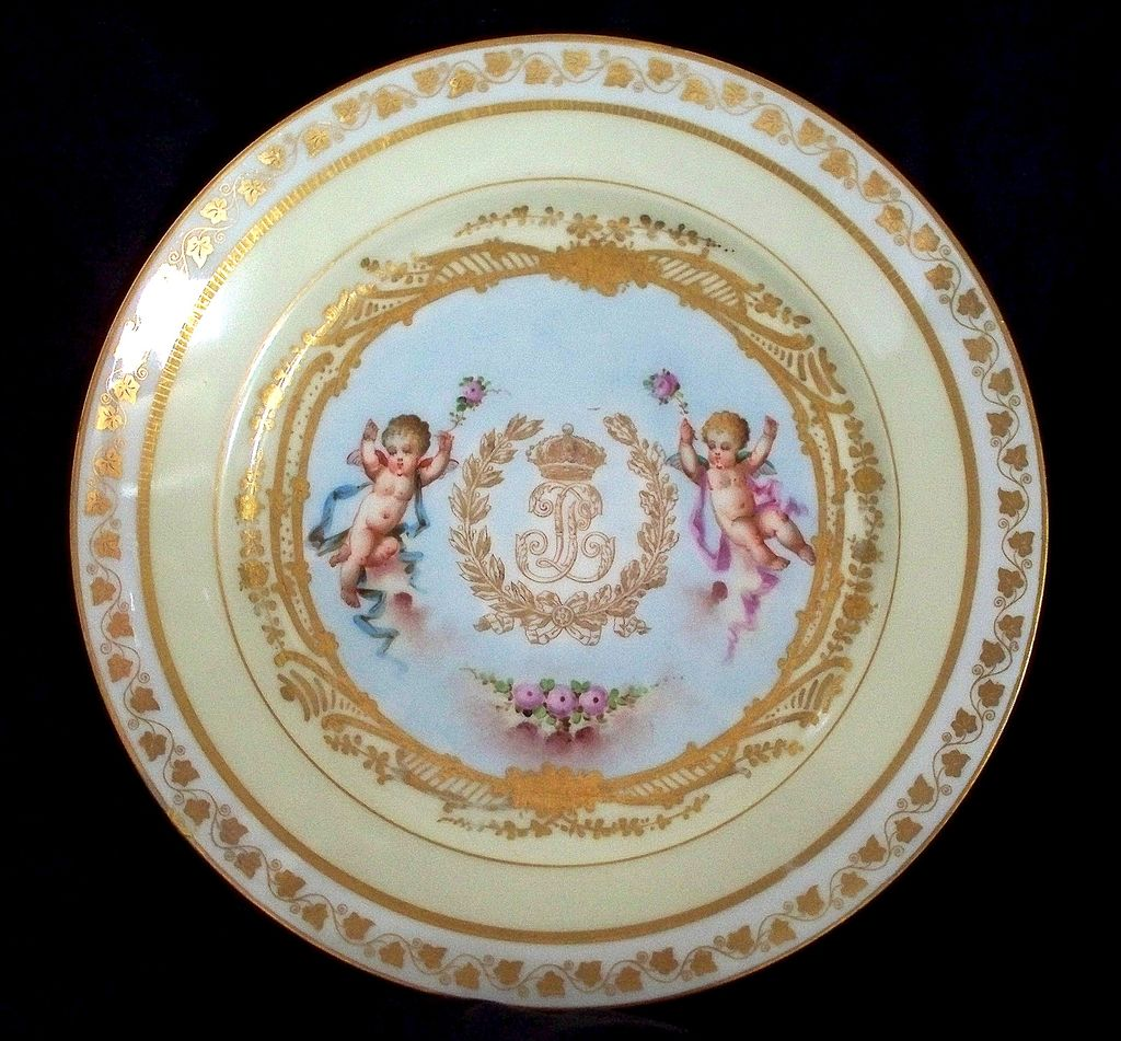 Antique Sevres Plate  Putti  King Louis Philippe   Dated 1846