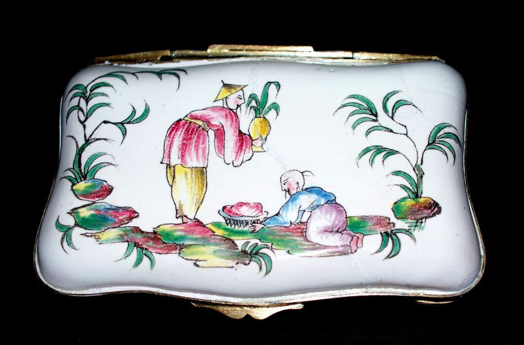 Antique Large French Faience Veuve Perrin Box  Chinoiserie Birds  Motifs