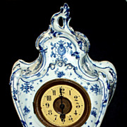 Antique French Rococo  Porcelain Mantle Clock   16""